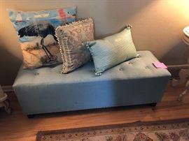 Blue upholstered bed bench