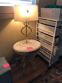 Antique oval marble top table