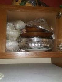 Wood salad set; silver and more.