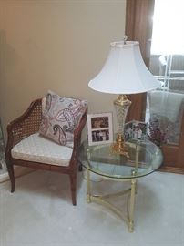One of 2 side chairs and the other lamp and glass end table.