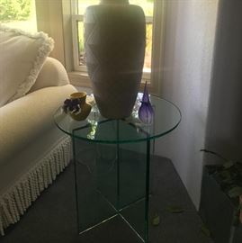 (2) glass lamp tables/matching