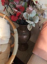 Rattan brass vase