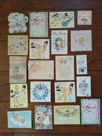 Vintage baby announcement cards (used)