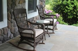 Pair of Wicker Rockers with matching Round Side Table