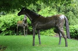 Life-size Lawn Horses with Bronze Patina