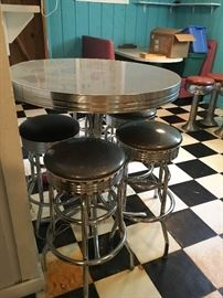 Pub table and stools,  50's retro
