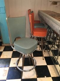 High back 1950's bar stools