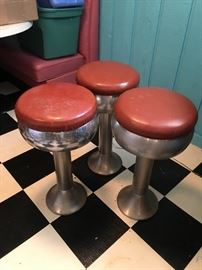 vintage 50's original soda fountain ice cream stools; set of 3