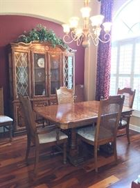 Dining Room Table with 6 Chairs & China Cabinet - Burled Wood Pedestal Table