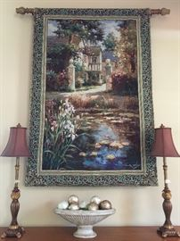 Enormous Wall Tapestry with designer hanging rod/brackets