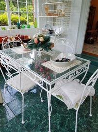 Beautiful Vintage Wrought Iron Table and Chairs