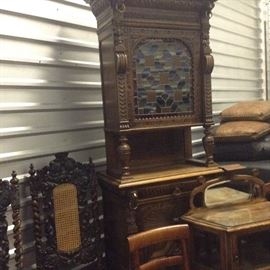 Antique Flemish  Hutch, Antique Queen and King Chairs.