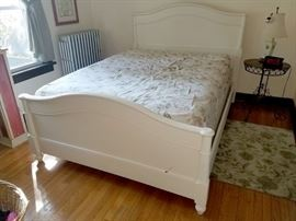 White painted queen bedframe and mattress set
