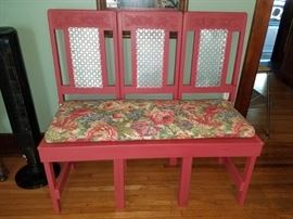 Gorgeous painted red bench