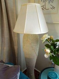 Large plaster cubist inspired floor lamp