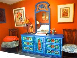 Boho custom painted bedroom suite includes dresser with mirror, queen bed and bedside stand with drawers
