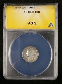 1916 D Mercury Dime AG3 ANACS