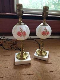 Milkglass Rose Lamps, Set of 2        https://ctbids.com/#!/description/share/26951