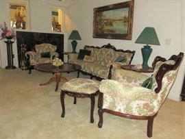 Union City French Provincial Living Room Furniture Made in Italy. Sofa, Love Seat, Matching Arm Chairs & Ottoman