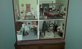 Hand crafted 3 story doll house fully furnished with dolls