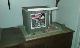 Country store doll house features cats. Hand designed