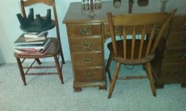 9 drawer wood desk (heavy). Chairs not included