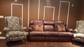 Leather Sofa and Accent Chairs