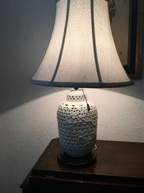 "Pr.Vintage  22""Japanese Morihiro Sangyo Blanc de Chine Pierced Porcelain Lamps w/Night Lights"