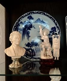 "Marble Resin Bust, Ivory Asian Figures, 16"" Blue & White Charger"