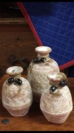3 Stoneware Decor Vases