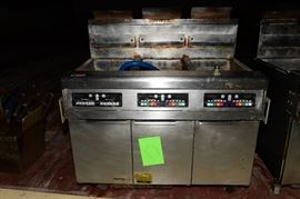 Frymaster 3-bay natural gas fryer on wheels
