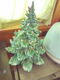Ceramic Christmas Tree with attached electric bulbs - to light it up.