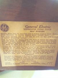 Label/Warranty of G.E. Westminster Chime Clock / self-starting