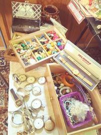 Vintage Wrist & Pocket Watches & assorted Jewelry, etc.
