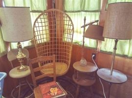 Floor & Table Lamps  / End Tables & Hanging Basket Chair