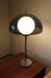MCM smoked acrylic and chrome lamp