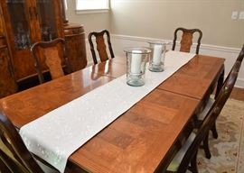 "$700 - Chinoiserie Dining Table w/ 2 Leaves & 8 Chairs (approx. 68"" L x 44"" W x 30"" H; leaves are each 15"" W)"
