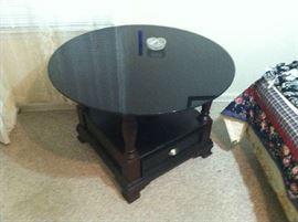Art Deco Black Glass Round Table