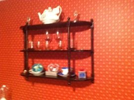 Vintage What Not Shelf with Glassware
