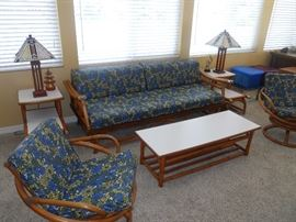 MCM Rattan Living Room Set