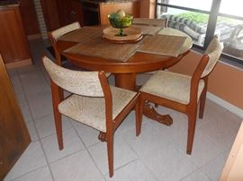 MCM Dining Chairs Total of 6, Round Pedestal Table