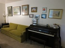 Vintage Henredon Couch In Great Shape, Nancy Bandy Artwork, Additional Watercolor Art, Baldwin Acrosonic Piano