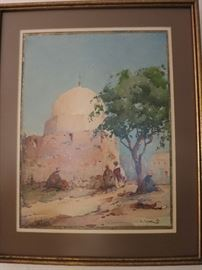Watercolor  Tunisian Village