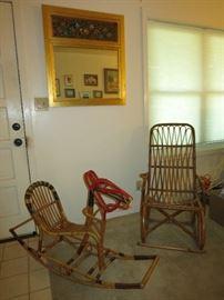 Eva Nissen Vintage  Rattan/Bamboo Rocking Horse, Mid Century Modern, Danish, Bamboo Rocking Chair, Nice Mirror
