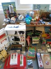 Vintage Child's Cookware Set, Vintage Microscope Kit, Battery Operated Slot Machines, Miscellaneous Fun