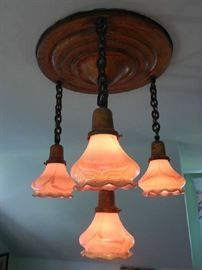 ANTIQUE FIXTURE WITH ART GLASS SHADES