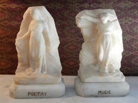 ARTIST SIGNED MARBLE BOOKENDS DEPICTING MUSIC & POETRY