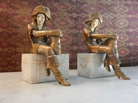 COLD PAINTED BRONZE FIGURED BOOKENDS WITH MARBLE BASE