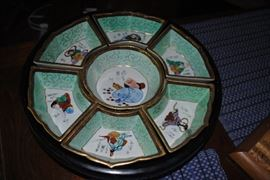 Oriental china lazy susan set - wood base