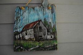 beautiful painting on barn wood